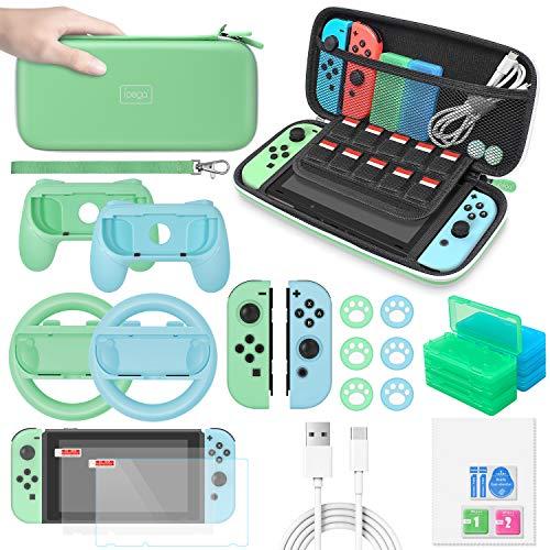MENEEA Kit in bundle di accessori per Nintendo Switch con custodia da trasporto, protezione per schermo, impugnatura, volante, custodia in silicone, auricolari, cavo di tipo C, presa per pollice