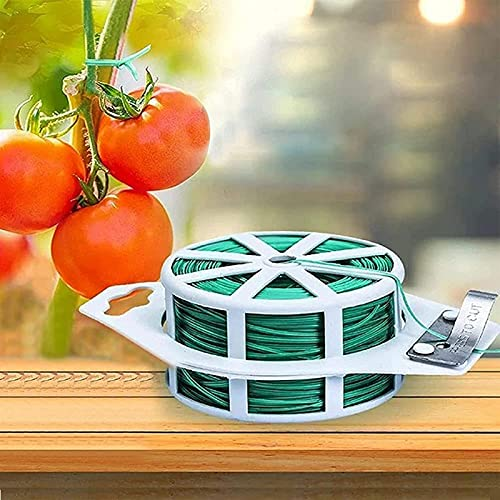 ZQSLZWZW Gardening Dept- Tie Back String For Plants,Plant Fixed Rope,Plant Fixed Clamp,Twist Ties,Green Coated Garden Plant Ties with Cutter For Gardening and Office Organization, Home 100m Ve