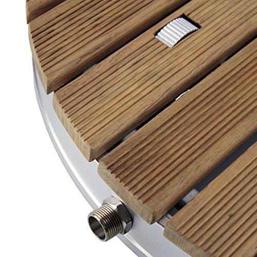 @tec Gartendusche Aussendusche aus massivem Teak-Holz, Mobile Bodendusche Campingdusche, Sauna- & Pool-Dusche rund mit Bodenplatte für den Garten, Outdoor Shower - 6