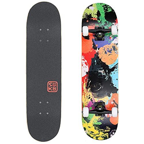 VOKUL Skateboard Completo, 80x20cm Monopatín para Niñas Niños Adolescentes Adultos Principiantes Profesionales, Tabla Skate con ABEC-7 y 7 Capas Monopatín de Madera de Arce Skateboards (Pintura)