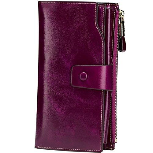 Itslife Women s RFID Blocking Large Capacity Luxury Wax Genuine Leather Cluth Wallet Ladies Card Holder (Fuchsia RFID Blocking)