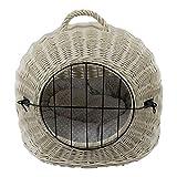 Katzenkorb aus Weide Weiß Gebleicht | Größe M 50x40x45 cm | abnehmbares Metall-Gitter Transportkorb/Transportbox für Katzen Hunde | Katzenhöle Hundebett