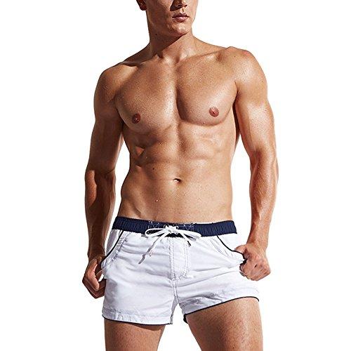 """LETSQK Men's Swimwear Shorts Surf Swimsuit Swim Trunks (Medium(Waist:29.0""""-30.5""""), White)"""