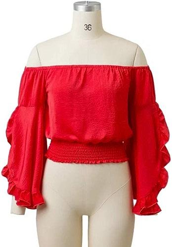 Cnsdy Chemises Femme Une épaule hauts Trompette Sleeve Loose Chemise à Manches Longues