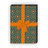 Kartenkaufrausch Orientalisches Geschenkpapier Set mit Sternen Mosaik, grün, als edle Geschenk Verpackung, Designpapier, scrapbooking, 4 Bogen, 32 x 48cm