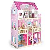 Kledio Puppenhaus aus Holz für Mädchen und Jungen ab 3 Jahren, extra große XL Puppenstube, Kinder...