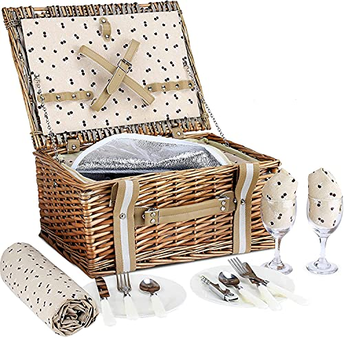 G GOOD GAIN Willow Picnic Basket Set for 2 Persons with Large Insulated...