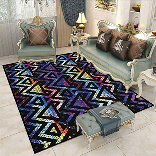 Geometric Rugs for Living Room Outdoor Rugs Galaxy Themed Background with Geometrical Shapes Triangles and Lines Lace Pattern for Bedroom, Living Room, and Kitchen Multicolor 6 x 7 Ft