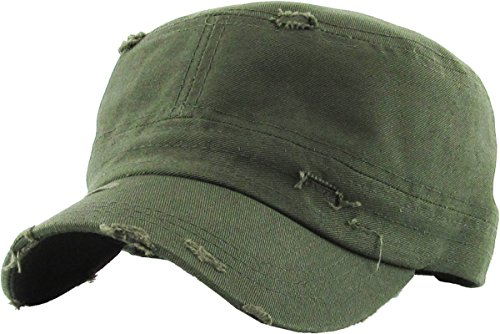 Distressed Womens Mens Vintage Military Style Army Cadet Hat - Olive