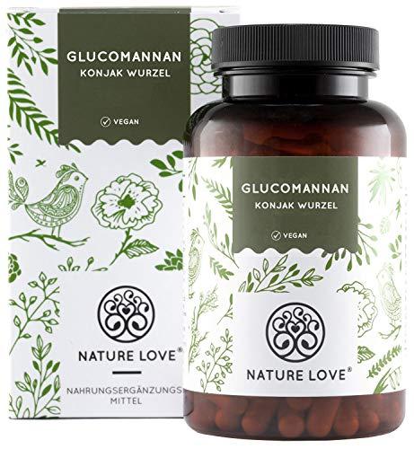 Abnehmen mit Glucomannan aus der Konjak Wurzel - von Nature Love - 120 Kapseln. 4000mg je Tagesdosis - Hochdosiert, vegan, hergestellt in Deutschland
