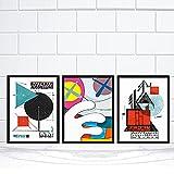 UHYGT Exposición de la Bauhaus Póster e Impresiones Forma Abstracta Escalera Lienzo Arte de la Pared Pintura Vintage Retro Sala de Estar Decoración Imágenes 50x70cmx3 Sin Marco