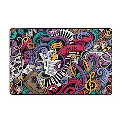 huagu Badematte Teppich,Musik Themen Hand gezeichnete abstrakte Instrumente Mikrofon Trommeln Tastatur Stradivarius Badezimmer Teppich 75cmx45cm