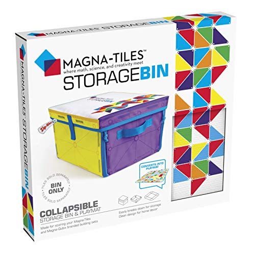 Magna-Tiles Storage Bin & Interactive Play-Mat, Collapsible Storage Bin with Handles for Playroom, Closet, Bedroom, Home Organization and Classroom, 12.5 x 11 x 8