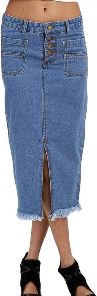 Joe Wenko Women's Cut Off Plain High Waist Denim Button Split Bodycon Skirts