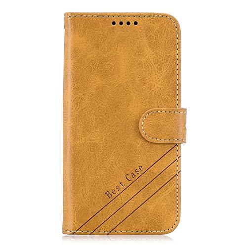 Fatcatparadise Kompatibel mit Motorola Moto G7 Play Hülle + Displayschutz, Flip Wallet Case mit Kartenhalter und Magnetverschluss Premium PU Leder Hülle handyhülle (Gelb)