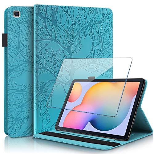 Reshias Funda para Samsung Galaxy Tab S6 Lite, Azul PU Cuero Billetera Flip Protectora Carcasa con UNO Cristal Templado Protector de Pantalla para Samsung Galaxy Tab S6 Lite 2020 (10.4 Pulgadas)