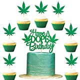 Ercadio 25 Pack Green Glitter Pot Weed Leaves Cupcake Toppers Set with Have a Dope Birthday Cake Topper Baby Shower Wedding 420 Birthday Party Decorations Supplies