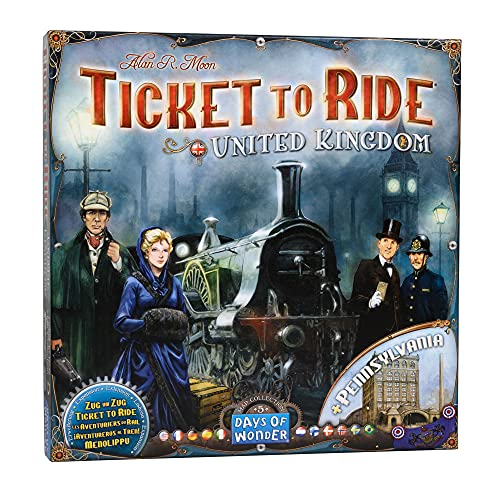 Ticket to Ride United Kingdom Board Game EXPANSION | Board Game for Adults and Family | Train Game | Ages 8+ | For 2 to 5 players | Average Playtime 30-60 minutes | Made by Days of Wonder