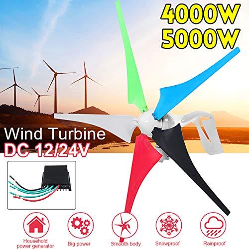 TQ 4000W 5000W Windturbine/Generator 5 Blade-12V / 24V Stromversorgung für Haushalts-Straßenbeleuchtung + Wind-Controller Montagezubehör,4000w,12v