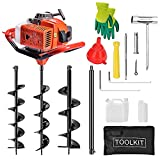 EASYG 52cc 2 Stroke Post Hole Digger, 1.8KW Petrol Gas Powered Earth Auger with 3 Replacement Drill Bits(5', 6', 8') and 1 Extension Rod
