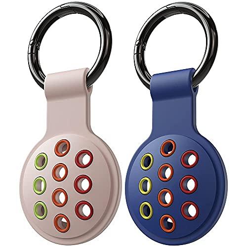 DSJBOO Funda protectora compatible con Apple AirTag, pack de 2, funda de silicona portátil para rastreador, funda para llavero, llavero para llaves, perro, mochilas, bolsa de forro.