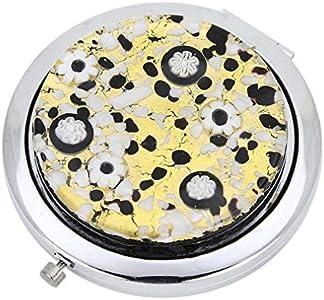 GlassOfVenice Espejo compacto plegable de cristal de Murano Millefiori, color negro y dorado