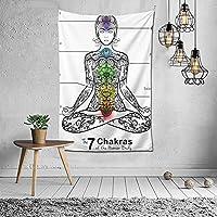Seven Chakras Symbols Ajna Anahata Sahasrara Manipura Body Awakening Lotus Ornaments タペストリー おしゃれ 60X40インチ(152x102cm)タペストリー壁掛け手工芸品寝室/リビングルーム/寮/カーテンのための芸術装飾家の装飾
