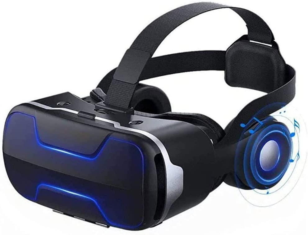 HANJIANFEI Virtual Reality Headset, Comes with a Stereo Headset, Ergonomic Design, 110° Large Viewing Angle, Vr Glasses 3D Stereo Headset Helmet Mobile Smart Eye Machine, Home Movie Equipment