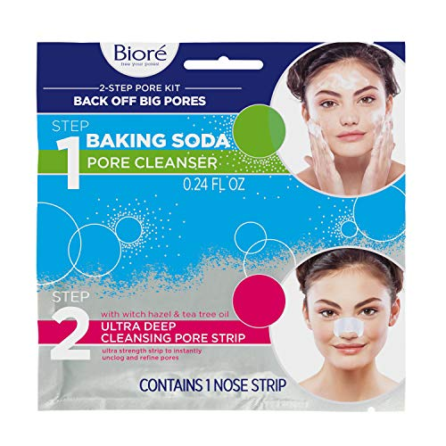 Biore 2 Step Cleansing Pore Kit, 1 Ultra Deep Cleansing Pore Strip plus 1 Facial Cleanser, Instant Pore Unclogging, All in One Travel Kit, 6 Count, with Blue Agave