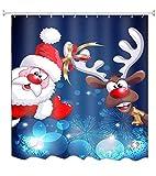 A.Monamour Tiefes Blaues Bild Hintergründe Santa Clauds Rentier Lustig Druck Weihnachten Urlaub Thema Wasserdicht Mehltau Resistent Stoff Duschvorhang 180X200 cm / 72