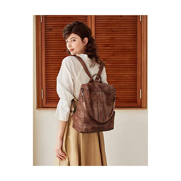 BROMEN Women Backpack Purse Leather Anti-theft Travel Backpack Fashion Shoulder Handbag 8