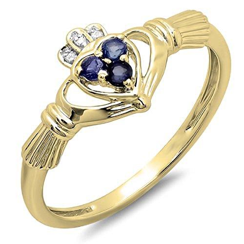 Dazzlingrock Collection Anillo Claddagh con forma de corazón y diamantes de oro de 14 quilates y zafiro azul para novia, promesa de amor irlandés y amistad