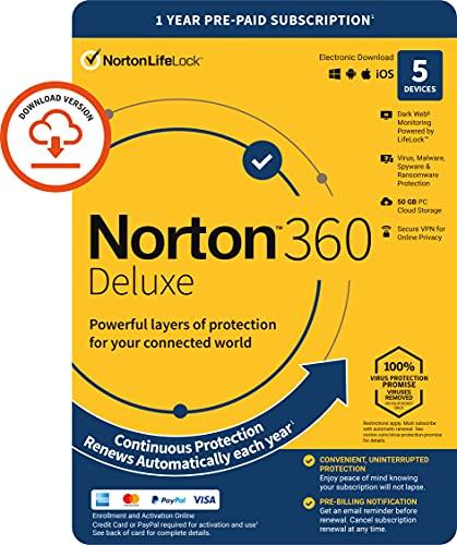 Norton 360 Deluxe 2021, Antivirus software for 5 Devices and 1-year...