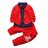2pcs Baby Boy Dress Clothes Toddler Outfits Infant Tuxedo Formal Suits Set Shirt + Pants(Red, 4T)