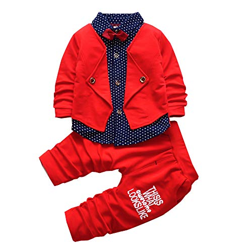 2pcs Baby Boy Dress Clothes Toddler Outfits Infant Tuxedo Formal Suits Set Shirt + Pants(Red, 24M
