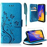 AROYI Coque Samsung Galaxy A10, Retro Design PU Etui Housse en Cuir Portefeuille de Protection [Fonction Stand Video] [Porte Carte Credit Ticket] Flip Case pour Samsung Galaxy A10 Bleu