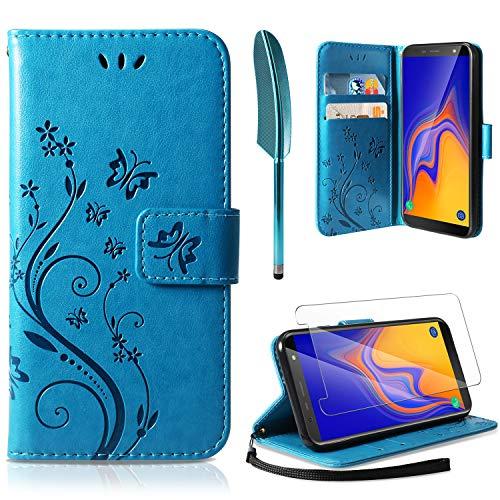 AROYI Lederhülle Samsung Galaxy A10 Flip Hülle + HD Schutzfolie, Samsung Galaxy A10 Wallet Hülle Handyhülle PU Leder Tasche Hülle Kartensteckplätzen Ständer Schutzhülle für Samsung Galaxy A10 Blau
