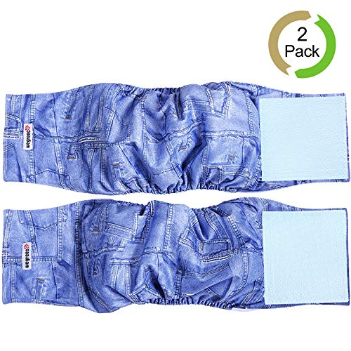 Wegreeco Jeans Washable Male Dog Diapers (Pack of 2) - Washable Male Dog Belly Wrap (Small)