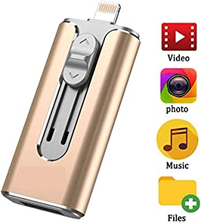 iOS USB Flash Drive Photo Stick for iPhone Flash Drive256GB iPhone External Storage USB 3.0 Mobile Memory Stick for iPhone,Android,PC Photo iPhone Picture Stick?Black? (Gold?128GB?)