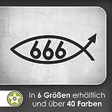 666 Fisch Fish Wandtattoo in 6 Größen - Wandaufkleber Wall Sticker