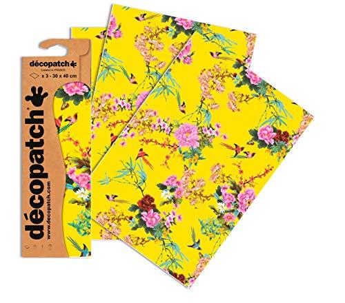 Décopatch C750O - Une pochette de 3 feuilles de papier imprimé 30x40 cm, Asiatique jaune