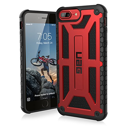 Urban Armor Gear Monarch Hülle für das Apple iPhone 8 Plus / 7 Plus / 6S Plus Handyhülle nach US-Militärstandard [Qi kompatibel, Sturzfest, Verstärkte Ecken, Leder] - Crimson Rot