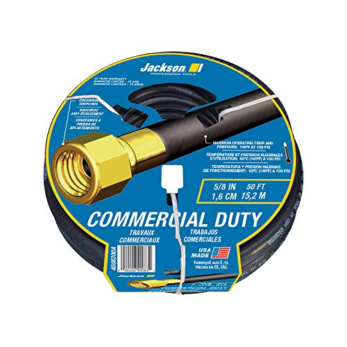 Jackson 4008300A Rubber Commercial-Duty Hose, 5/8 in. x 50 ft, Black