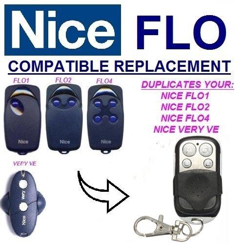 NICE FLO1 - FLO2 - Mando a distancia para motor de puerta FLO4 – Transmisor de copia facial 433,92 Mhz Fix Code Clone