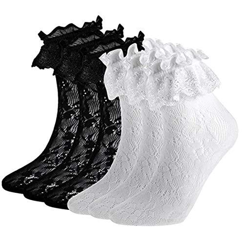 ANDIBEIQI 6 Paia Calze alla Caviglia da Donna Pizzo Increspatura Calza Tazza Calzini in Pizzo Calzini con Gale in PizzoTaglia unica.(nero+bianco)