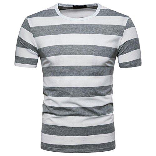 LHWY Shirt Herren, Mode Männer Sommer Casual Rundhalsausschnitt Pullover T-Shirt Top Bluse Trend Streetwear Gestreiftes Kurzärmliges Oberteil (L, Grau)