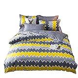 HOHH - Juego de funda de edredón para niños con 2 fundas de almohada y 2 fundas de almohada para cama de matrimonio, suave y fácil cuidado, tamaño individual, doble