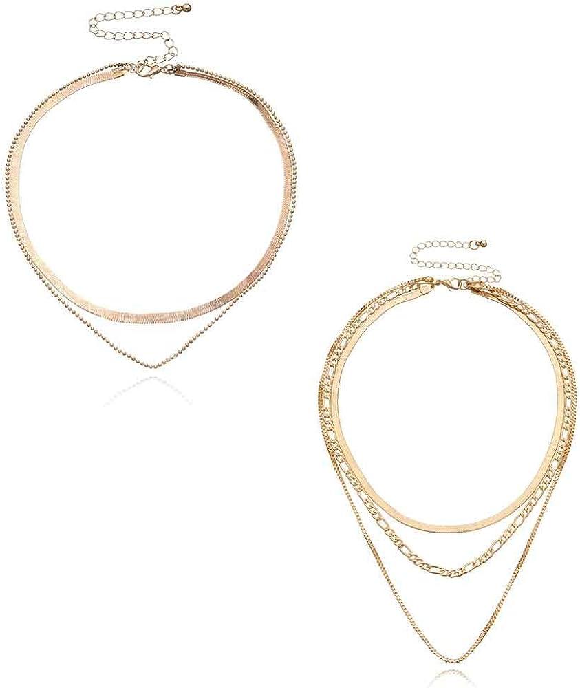 2Pcs/Set Punk Snake Bone Plated Bead Balls Layered Necklaces Minimalist Golden Color Choker Best Friend Chain Jewelry for Women Girls Teens Girlfriend Daughter