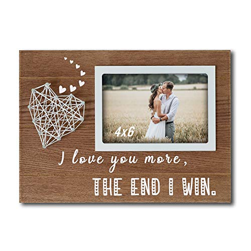 Buecasa Romantic Gifts for Boyfriend and Girlfriend - Couples Wedding Picture Frames with String Heart 4x6 Inches - Love Gifts for Her Him - I Love You More The End I Win