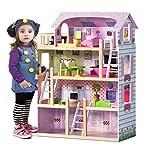 GIANTEX Kinderküche Holz, Spielküche Kinder Holzküche mit Zubehör, Spielzeugküche Kinderspielküche mit Wasserhahn, Mikrowelle, Spüle (rosa)